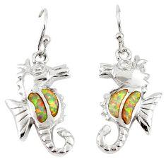 Pink australian opal (lab) enamel 925 silver dangle seahorse earrings c15561