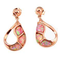 Pink australian opal (lab) 925 silver 14k rose gold dangle earrings c15536