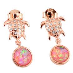 3.64cts pink australian opal (lab) 925 silver 14k gold tortoise earrings c15535