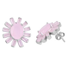 15.44cts pink chalcedony 925 sterling silver stud earrings jewelry c19376