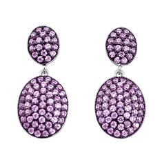 3.87cts pink kunzite (lab) 925 sterling silver dangle earrings a96529 c24676