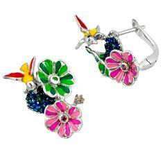Pink kunzite (lab) peridot enamel 925 sterling silver flower earrings c16958