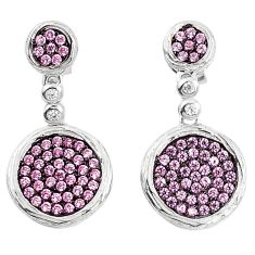 Pink kunzite (lab) topaz 925 sterling silver dangle earrings a85107 c24663
