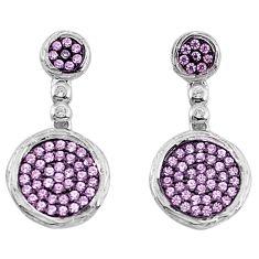 3.65cts pink kunzite (lab) topaz 925 sterling silver earrings a96506 c24668