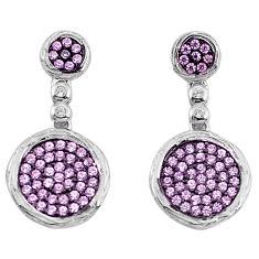 3.66cts pink kunzite (lab) topaz sterling silver dangle earrings a96531 c24680