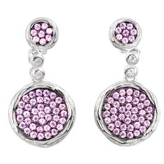 3.17cts pink kunzite (lab) white topaz sterling silver earrings a90215 c24747