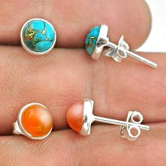 4.08cts pink moonstone copper turquoise 925 silver 2 pair studs earrings t50868