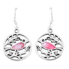 4.25gms pink pearl enamel 925 sterling silver birds earrings a88636 c14205