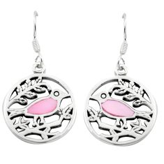 4.07gms pink pearl enamel 925 sterling silver birds earrings a91925 c14214