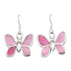 6.26gms pink pearl enamel 925 sterling silver butterfly earrings jewelry c16953