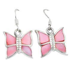 Pink pearl enamel 925 sterling silver butterfly earrings jewelry a49674 c13636