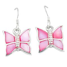 Pink pearl enamel 925 sterling silver butterfly earrings jewelry a49709 c13625