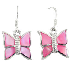 Pink pearl enamel 925 sterling silver butterfly earrings jewelry c22186