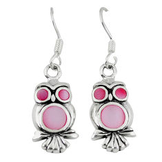 Pink pearl enamel 925 sterling silver owl earrings jewelry a66735 c14359