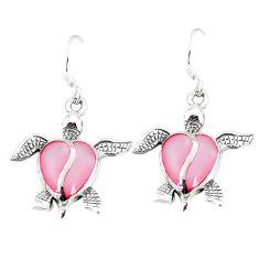 Pink pearl enamel 925 sterling silver tortoise earrings jewelry a55533 c14247