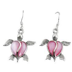 Pink pearl enamel 925 sterling silver tortoise earrings jewelry a58835 c14251