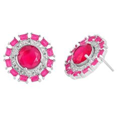 Pink ruby quartz topaz 925 sterling silver stud earrings jewelry c19541