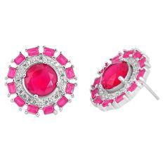 Pink ruby quartz topaz 925 sterling silver stud earrings jewelry c19541