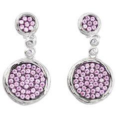Pink topaz quartz 925 sterling silver dangle earrings jewelry a82789 c24758