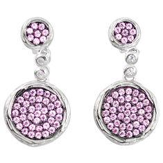 Pink topaz quartz 925 sterling silver dangle earrings jewelry a82791 c24665