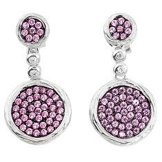 Pink topaz quartz 925 sterling silver dangle earrings jewelry a82810 c24754