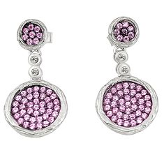 Pink topaz quartz topaz 925 sterling silver dangle earrings a78100 c24741