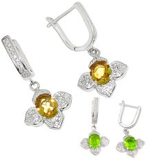 Purple alexandrite (lab) topaz 925 silver dangle earrings jewelry c22166