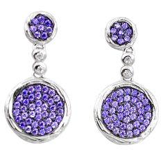 Purple amethyst quartz 925 sterling silver dangle earrings a82793 c24711
