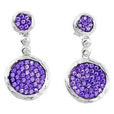 Purple amethyst quartz 925 sterling silver dangle earrings a82801 c24717