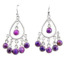 9.10cts purple copper turquoise 925 sterling silver chandelier earrings r37341