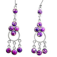 12.06cts purple copper turquoise 925 sterling silver chandelier earrings r37394