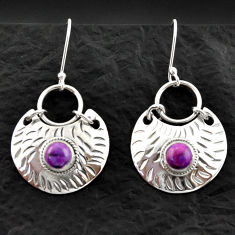 2.12cts purple copper turquoise 925 sterling silver dangle earrings d40592
