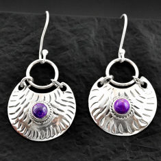 2.02cts purple copper turquoise 925 sterling silver dangle earrings d40595