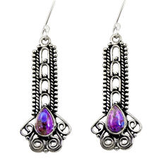 Clearance Sale- 4.02cts purple copper turquoise 925 sterling silver dangle earrings d41181