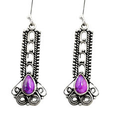Clearance Sale- 4.02cts purple copper turquoise 925 sterling silver dangle earrings d41182