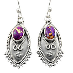 3.01cts purple copper turquoise 925 sterling silver dangle earrings d46922