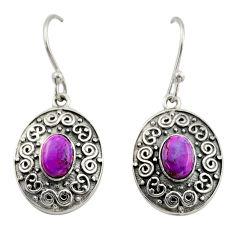 3.35cts purple copper turquoise 925 sterling silver dangle earrings d47132