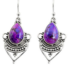8.71cts purple copper turquoise 925 sterling silver dangle earrings r30900