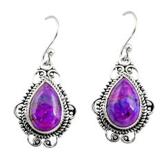 7.97cts purple copper turquoise 925 sterling silver dangle earrings r30953
