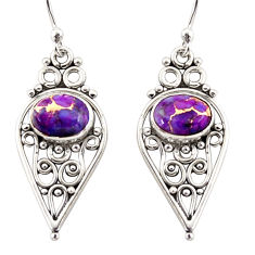 3.98cts purple copper turquoise 925 sterling silver dangle earrings r31133
