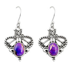 4.06cts purple copper turquoise 925 sterling silver dangle earrings r31149