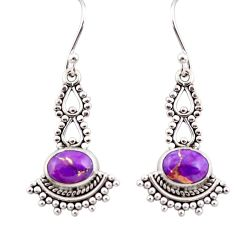 3.91cts purple copper turquoise 925 sterling silver dangle earrings r31214
