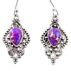 4.43cts purple copper turquoise 925 sterling silver dangle earrings r31258