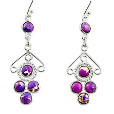 6.88cts purple copper turquoise 925 sterling silver dangle earrings r33432