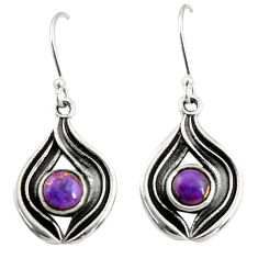 2.47cts purple copper turquoise 925 sterling silver dangle earrings r35166