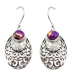 2.19cts purple copper turquoise 925 sterling silver dangle earrings r36819