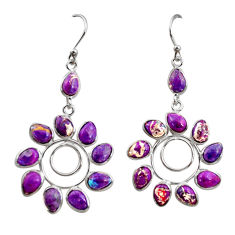 13.60cts purple copper turquoise 925 sterling silver dangle earrings r37451