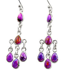 9.20cts purple copper turquoise 925 sterling silver dangle earrings r37568
