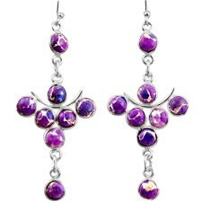 11.73cts purple copper turquoise 925 sterling silver dangle earrings r38669