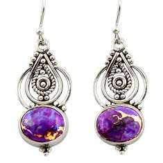 6.97cts purple copper turquoise 925 sterling silver dangle earrings r42389